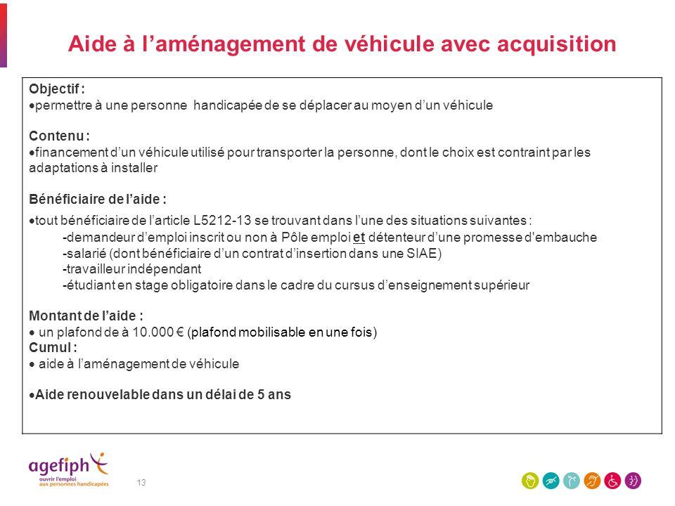 Aide à l'aménagement de véhicule avec acquisition