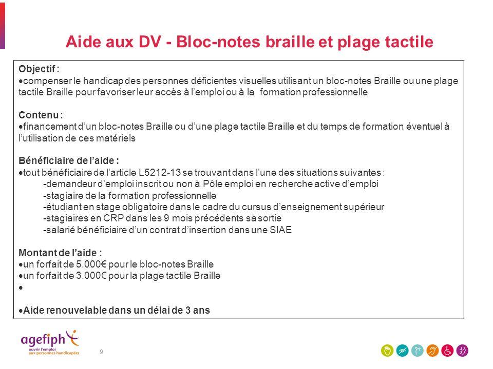 Aide aux DV - Bloc-notes braille et plage tactile