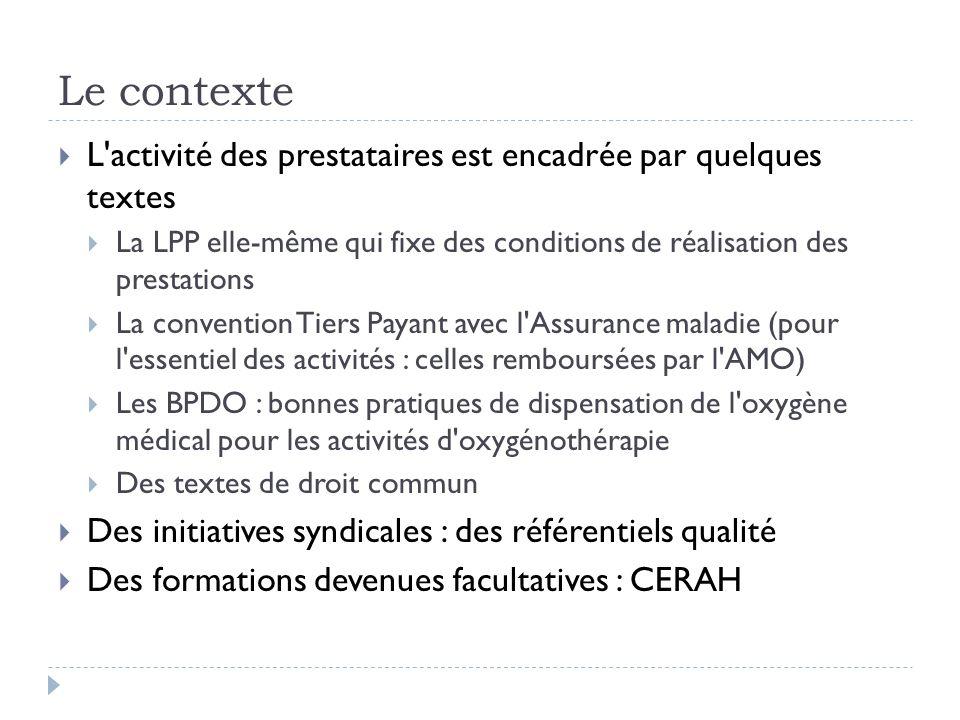 Le contexte L activité des prestataires est encadrée par quelques textes. La LPP elle-même qui fixe des conditions de réalisation des prestations.