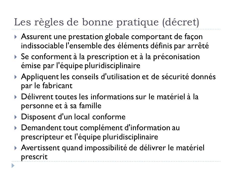 Les règles de bonne pratique (décret)