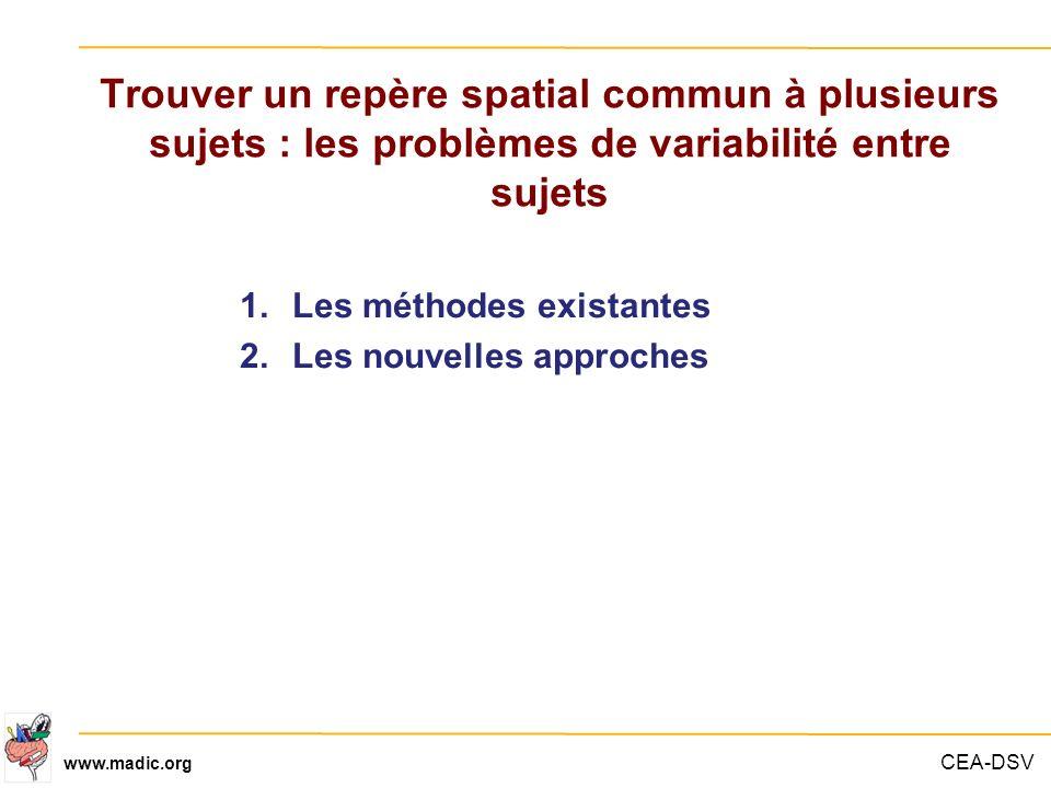 Trouver un repère spatial commun à plusieurs sujets : les problèmes de variabilité entre sujets
