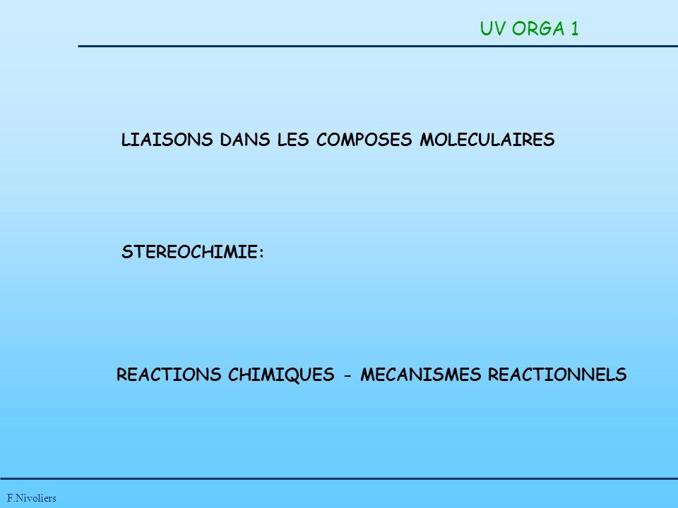 UV ORGA 1 LIAISONS DANS LES COMPOSES MOLECULAIRES STEREOCHIMIE: