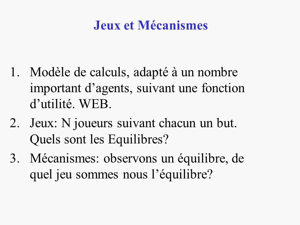 Jeux et Mécanismes Modèle de calculs, adapté à un nombre important d'agents, suivant une fonction d'utilité. WEB.