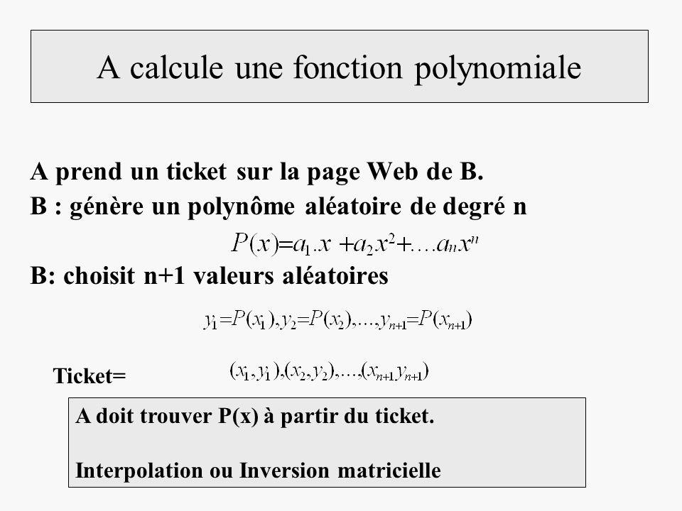 A calcule une fonction polynomiale