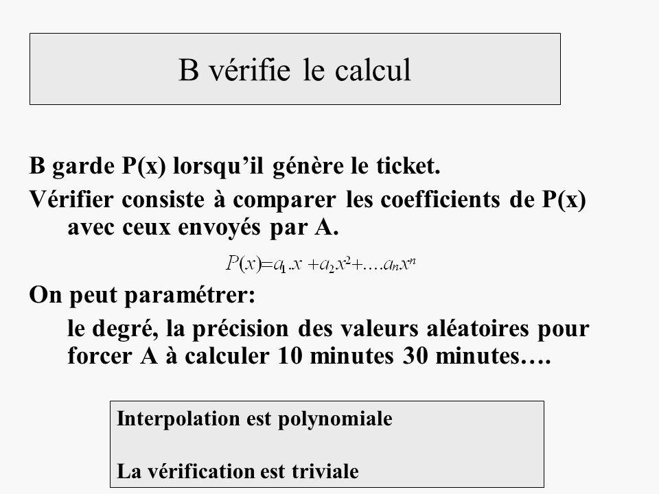 B vérifie le calcul B garde P(x) lorsqu'il génère le ticket.