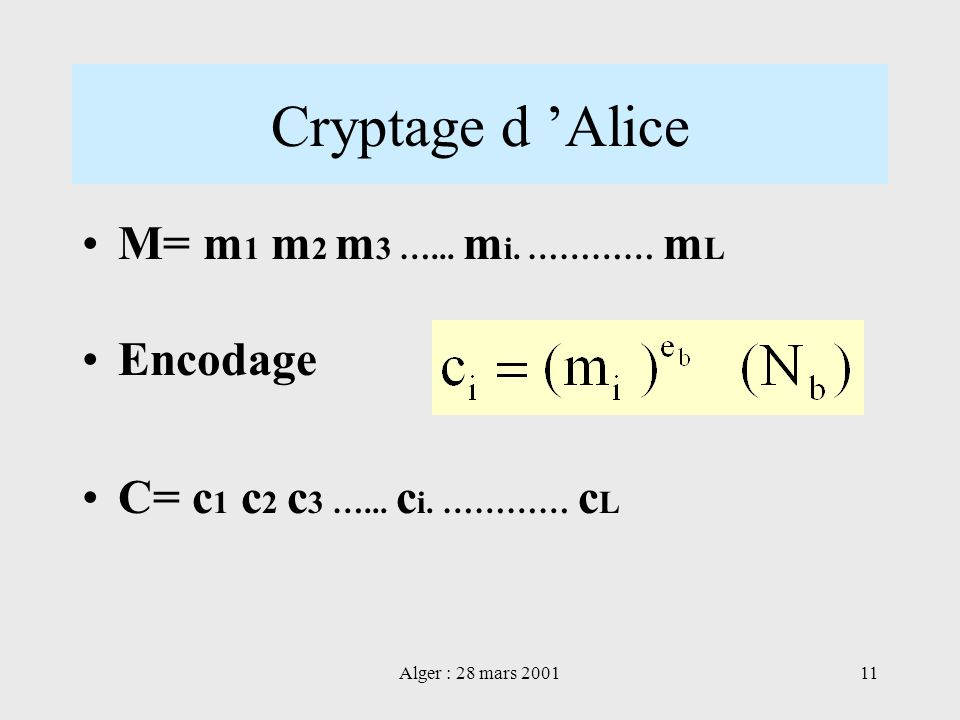 Cryptage d 'Alice M= m1 m2 m3 …... mi. ………… mL Encodage
