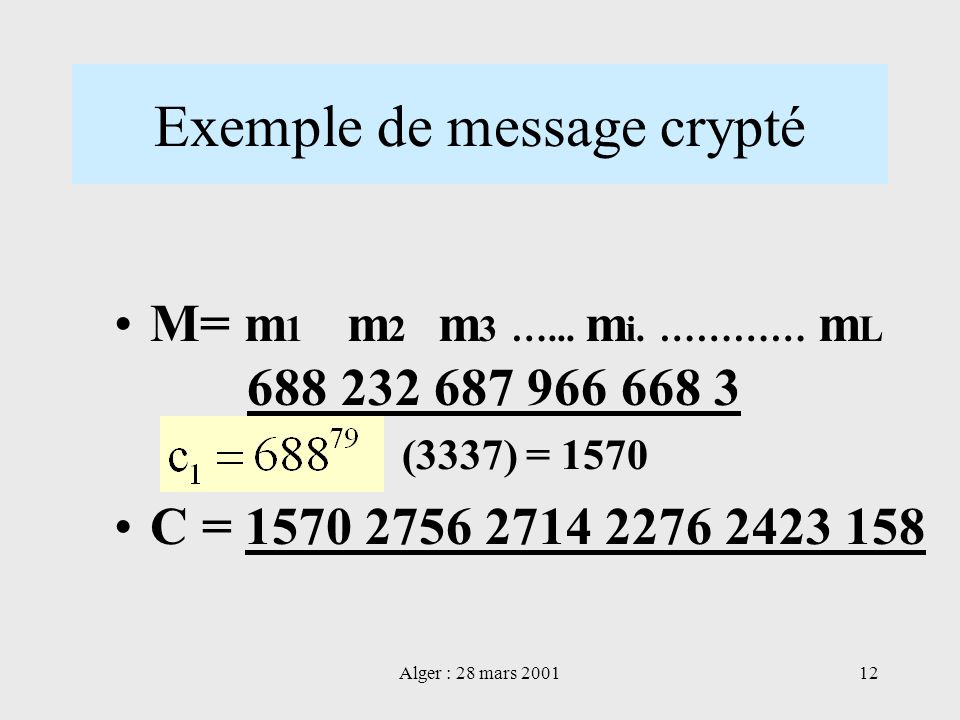 Exemple de message crypté