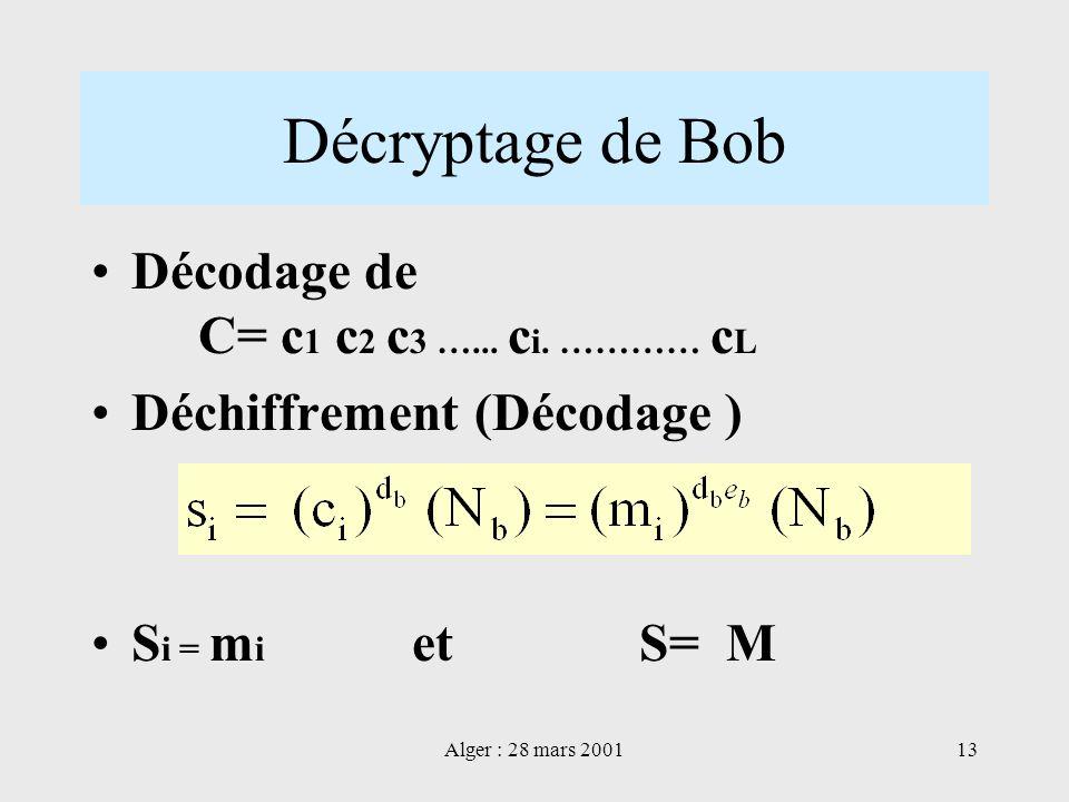 Décryptage de Bob Décodage de C= c1 c2 c3 …... ci. ………… cL