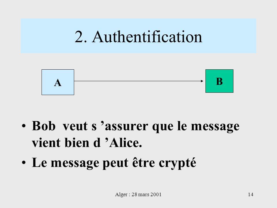 2. AuthentificationA. B. Bob veut s 'assurer que le message vient bien d 'Alice. Le message peut être crypté.