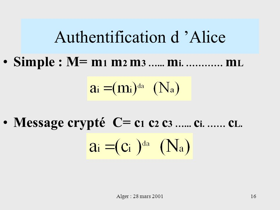 Authentification d 'Alice