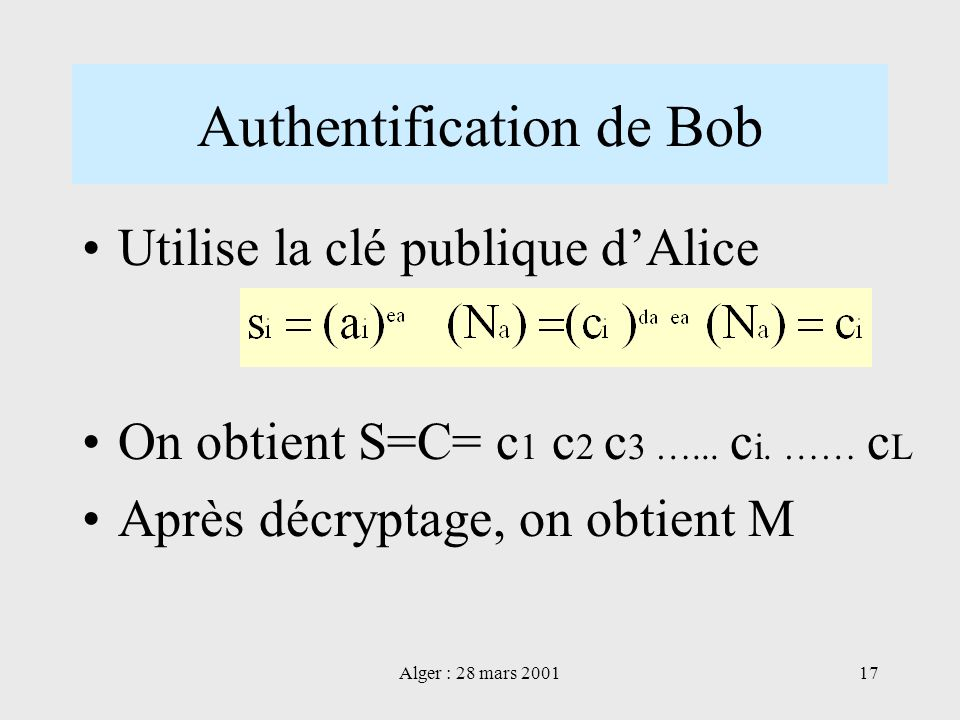Authentification de Bob