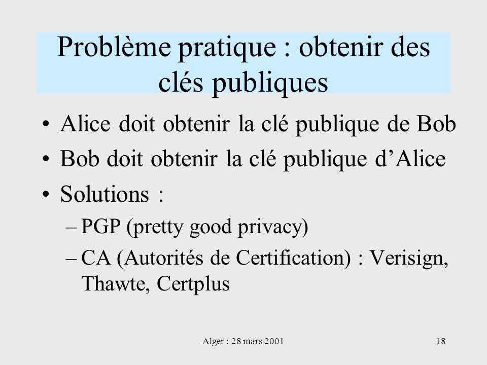 Problème pratique : obtenir des clés publiques