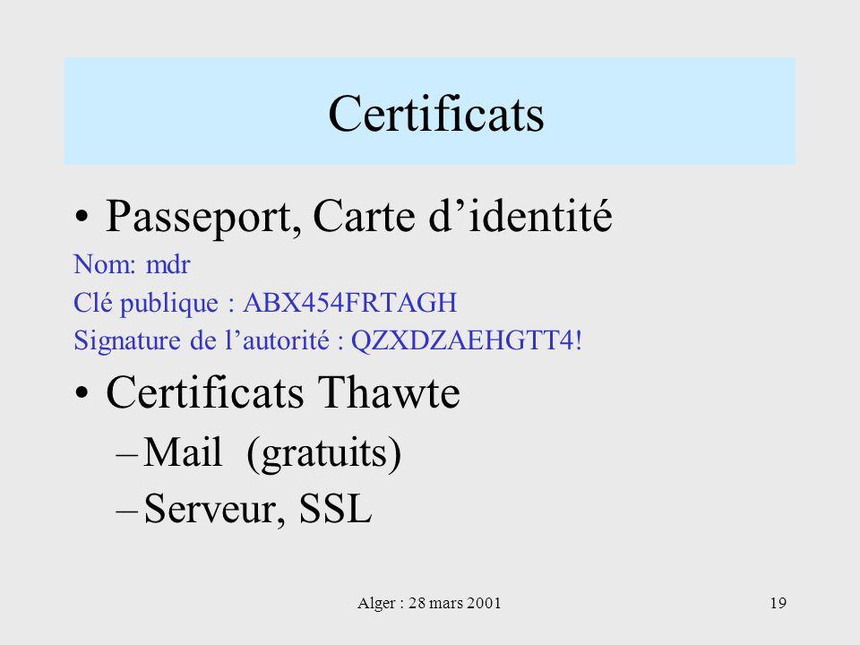 Certificats Passeport, Carte d'identité Certificats Thawte