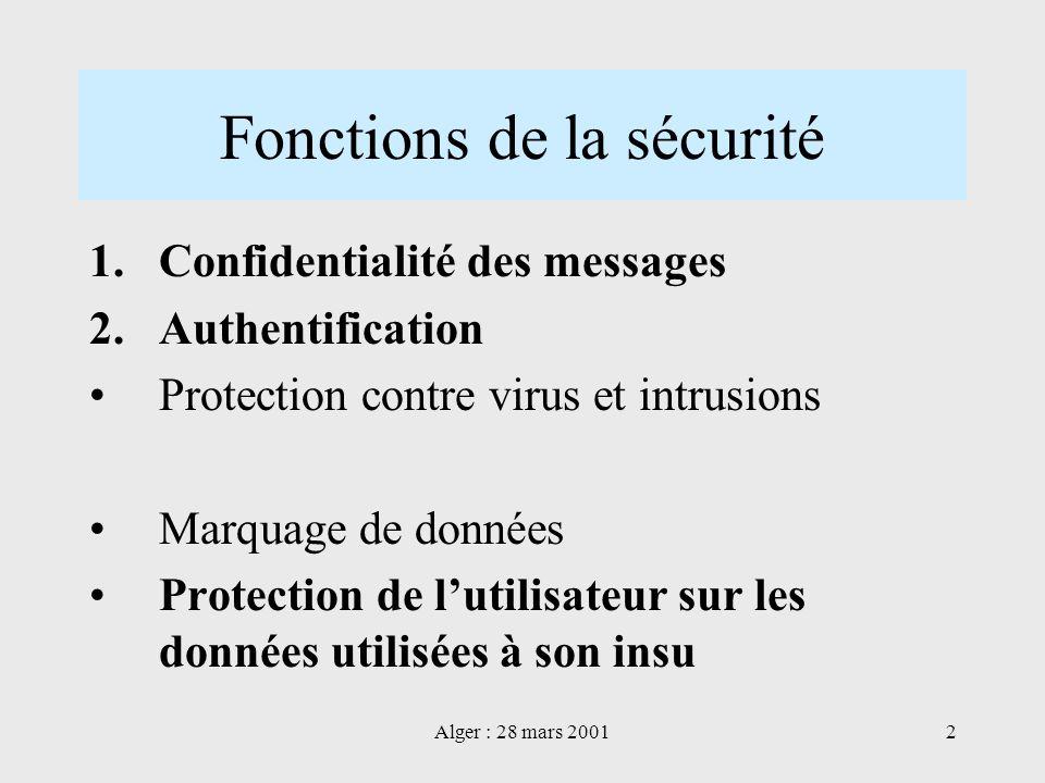 Fonctions de la sécurité