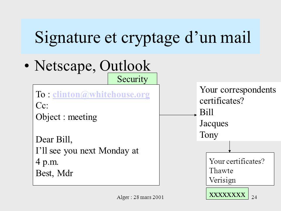 Signature et cryptage d'un mail