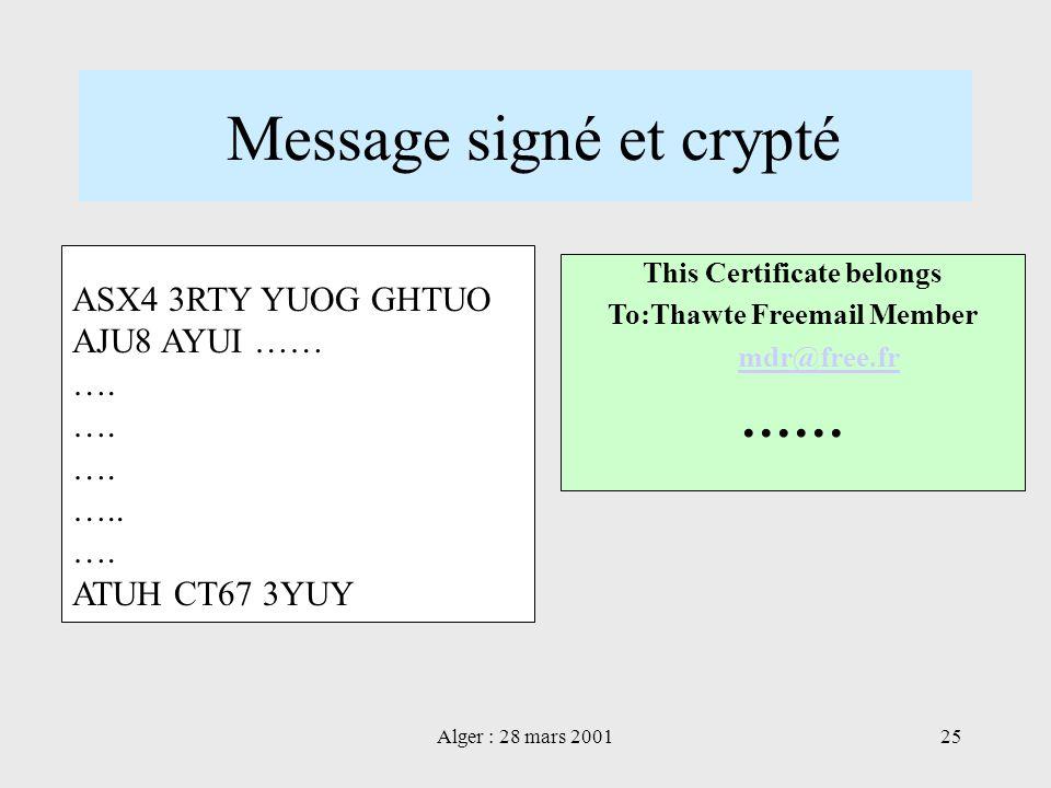 Message signé et crypté