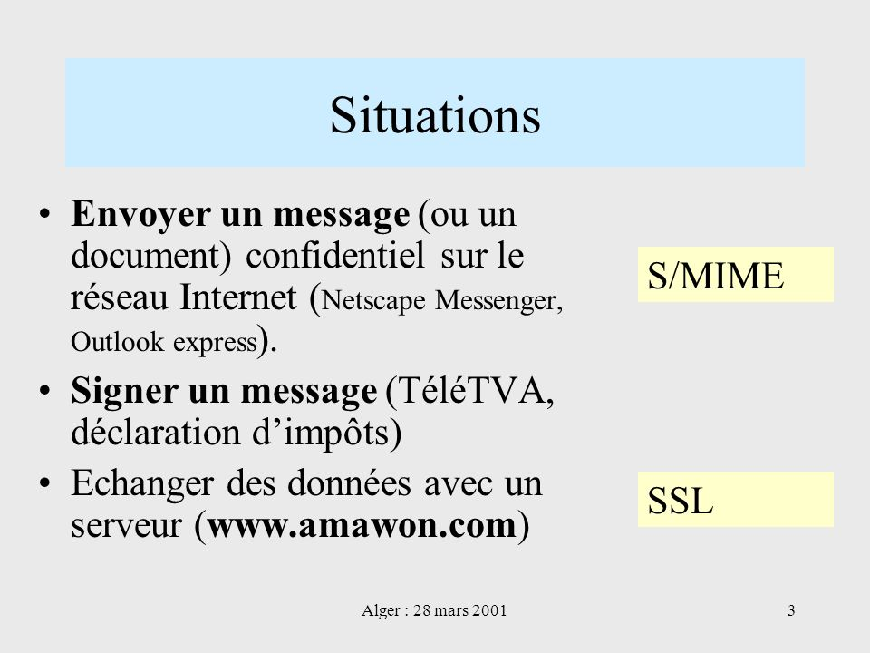 Situations Envoyer un message (ou un document) confidentiel sur le réseau Internet (Netscape Messenger, Outlook express).