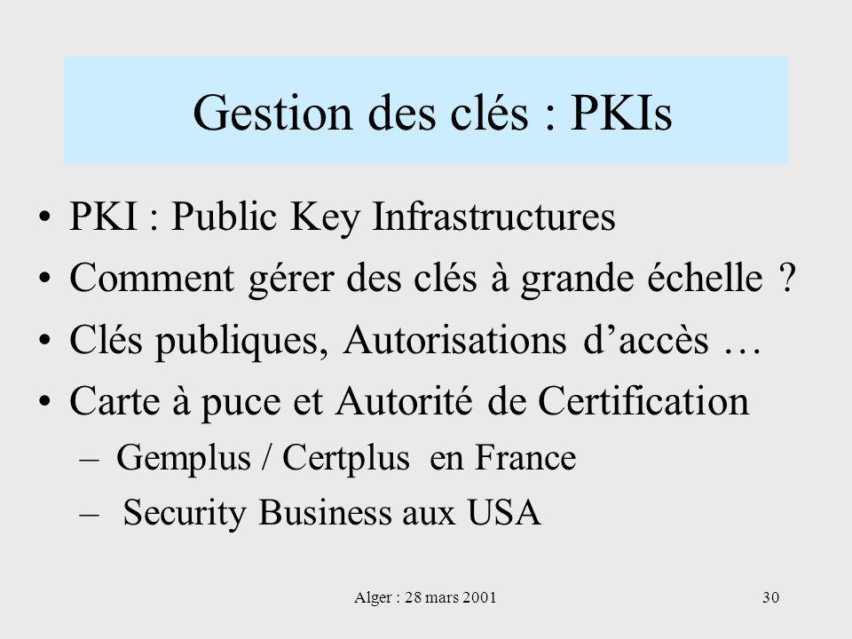 Gestion des clés : PKIs PKI : Public Key Infrastructures