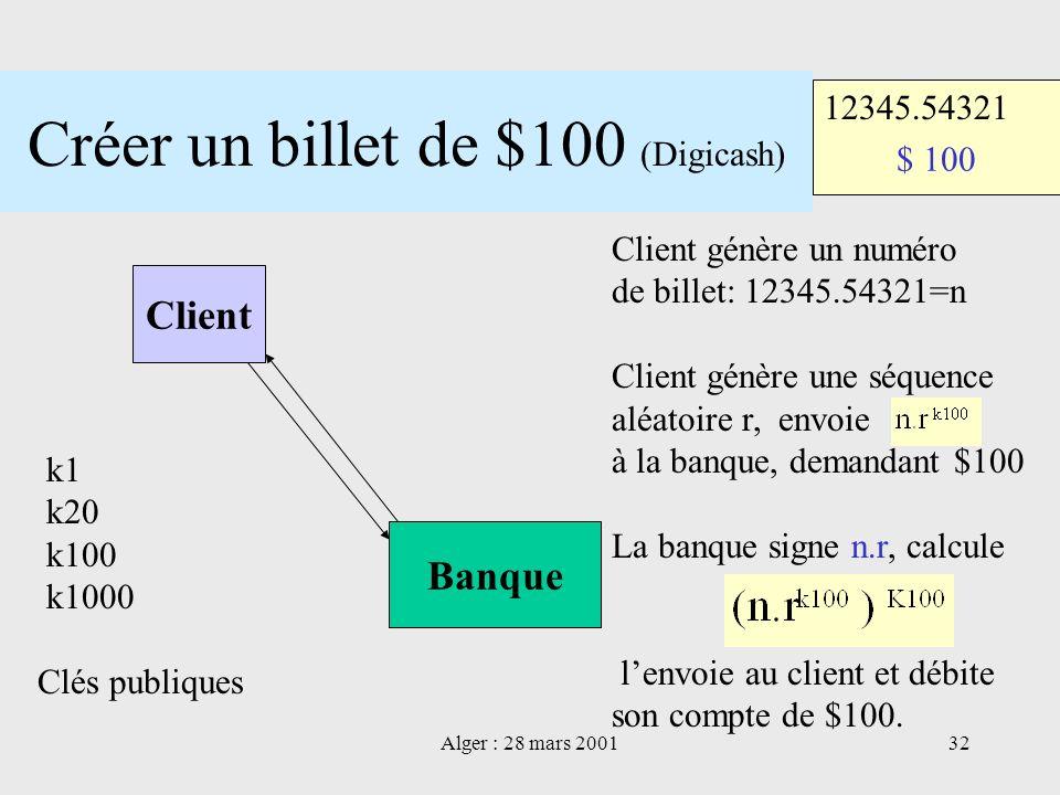 Créer un billet de $100 (Digicash)