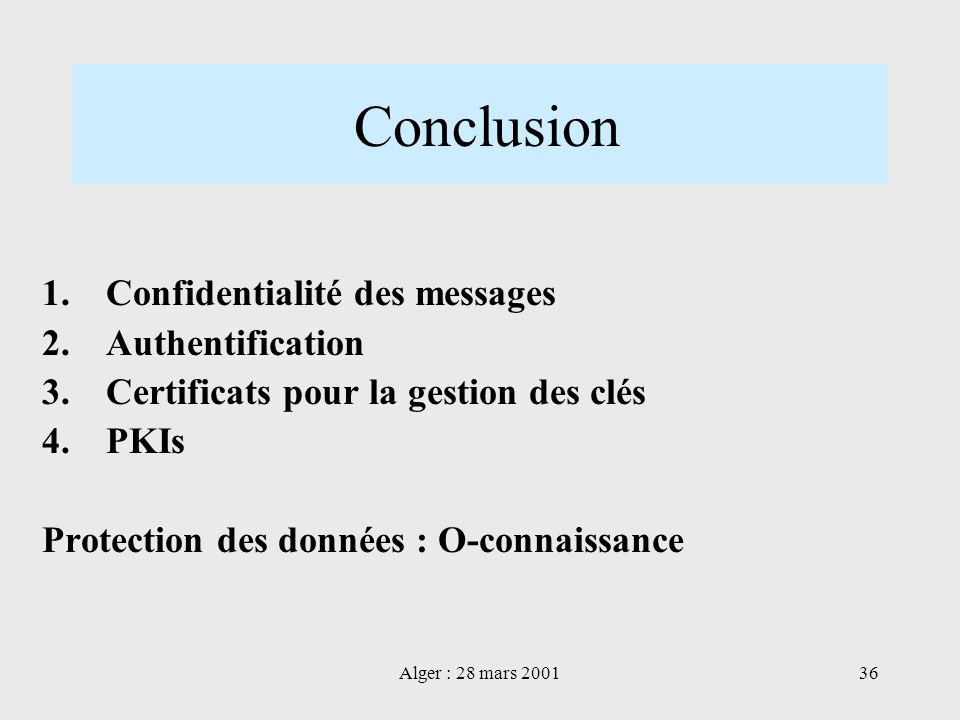 Conclusion Confidentialité des messages Authentification