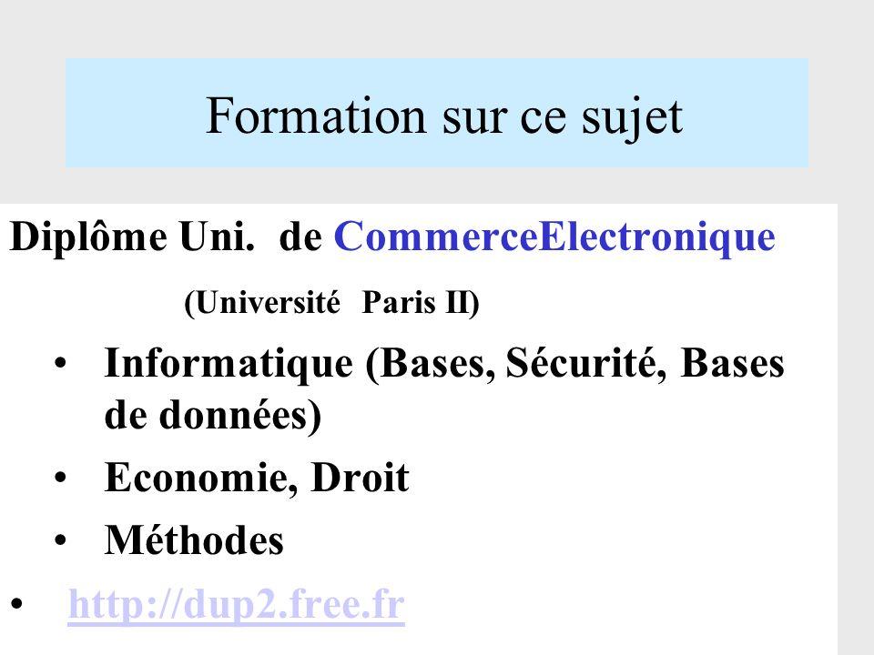 Formation sur ce sujet Diplôme Uni. de CommerceElectronique