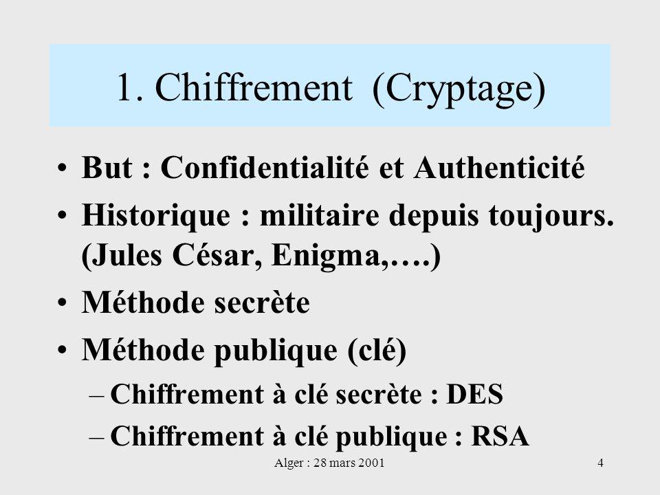 1. Chiffrement (Cryptage)