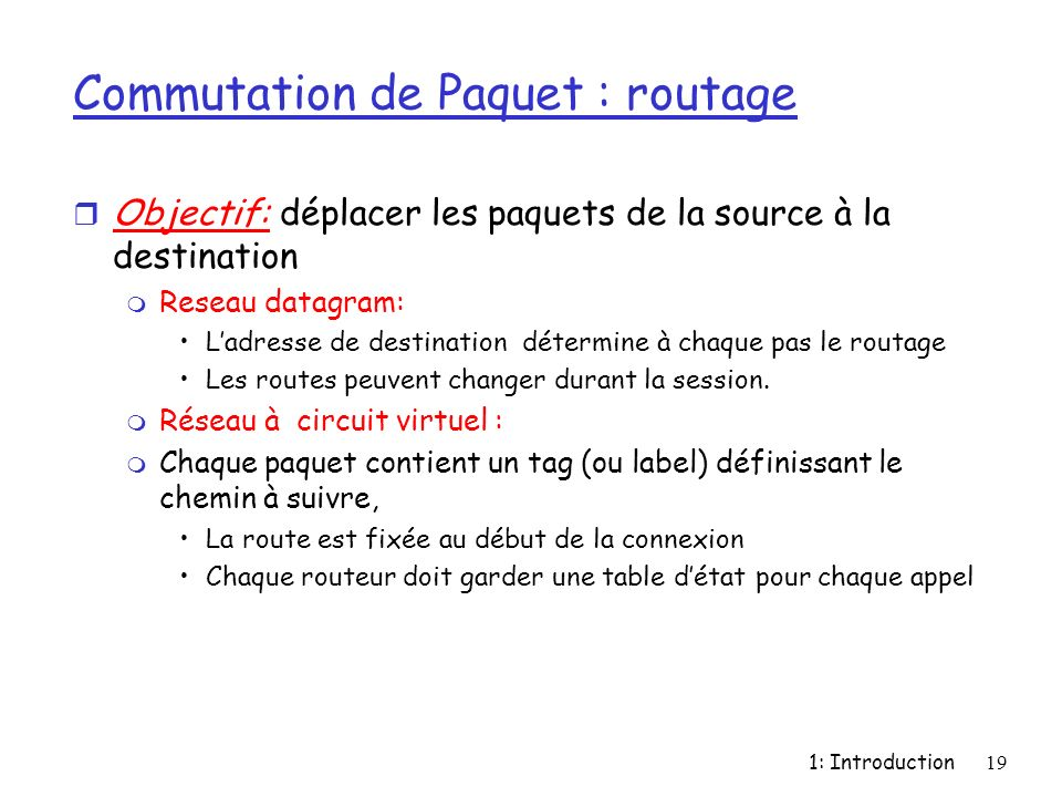 Commutation de Paquet : routage