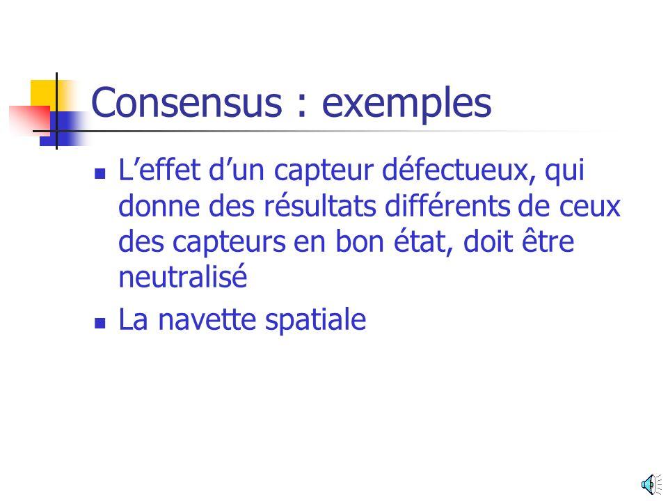 Consensus : exemples L'effet d'un capteur défectueux, qui donne des résultats différents de ceux des capteurs en bon état, doit être neutralisé.