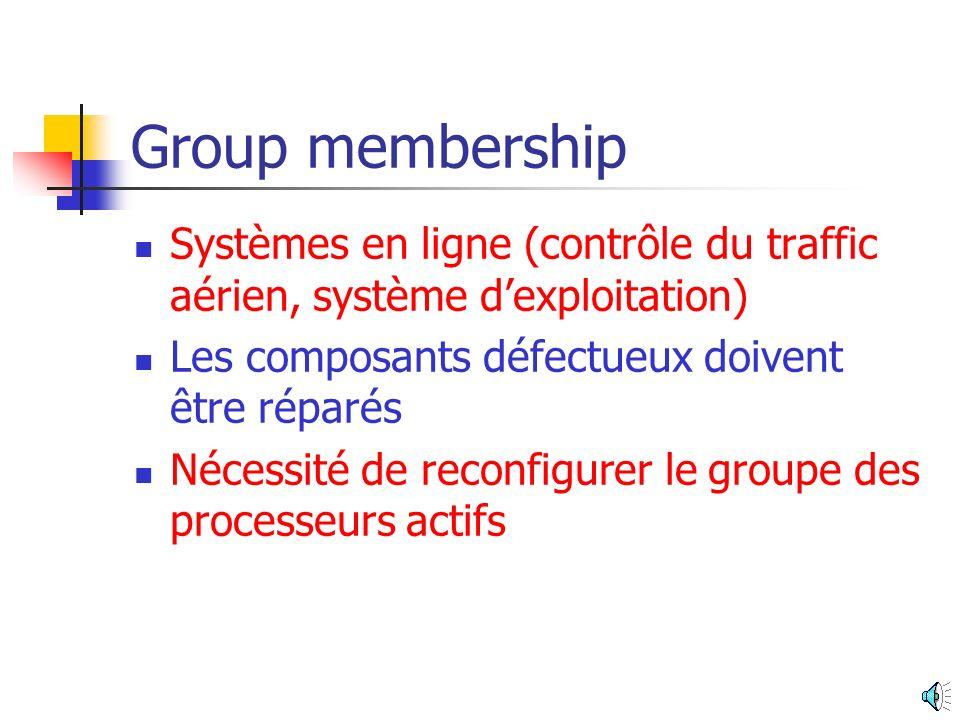 Group membership Systèmes en ligne (contrôle du traffic aérien, système d'exploitation) Les composants défectueux doivent être réparés.