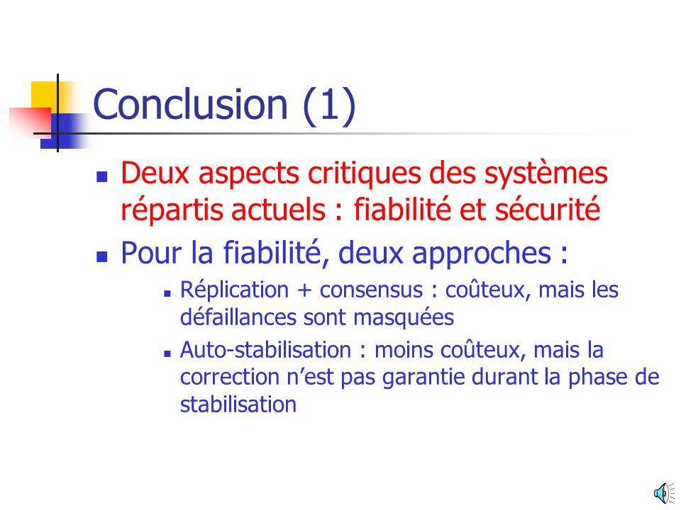 Conclusion (1) Deux aspects critiques des systèmes répartis actuels : fiabilité et sécurité. Pour la fiabilité, deux approches :