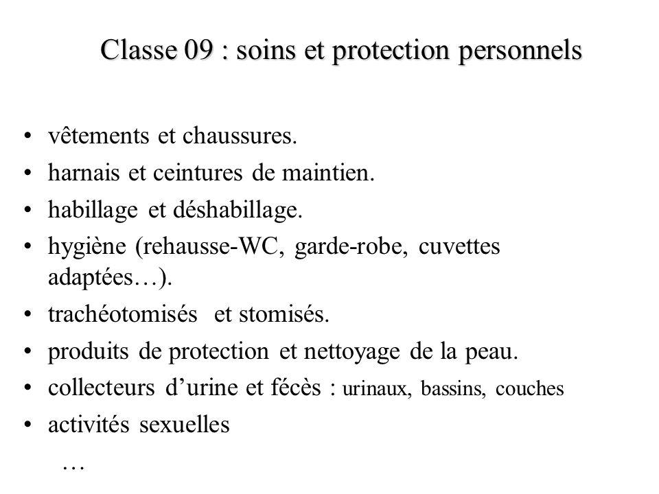 Classe 09 : soins et protection personnels