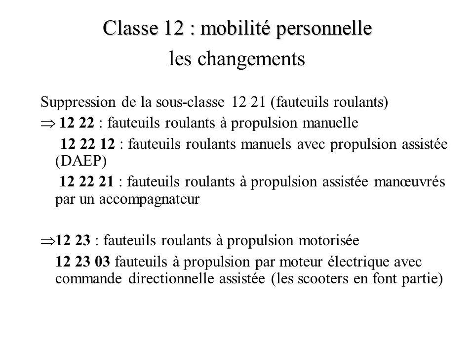 Classe 12 : mobilité personnelle