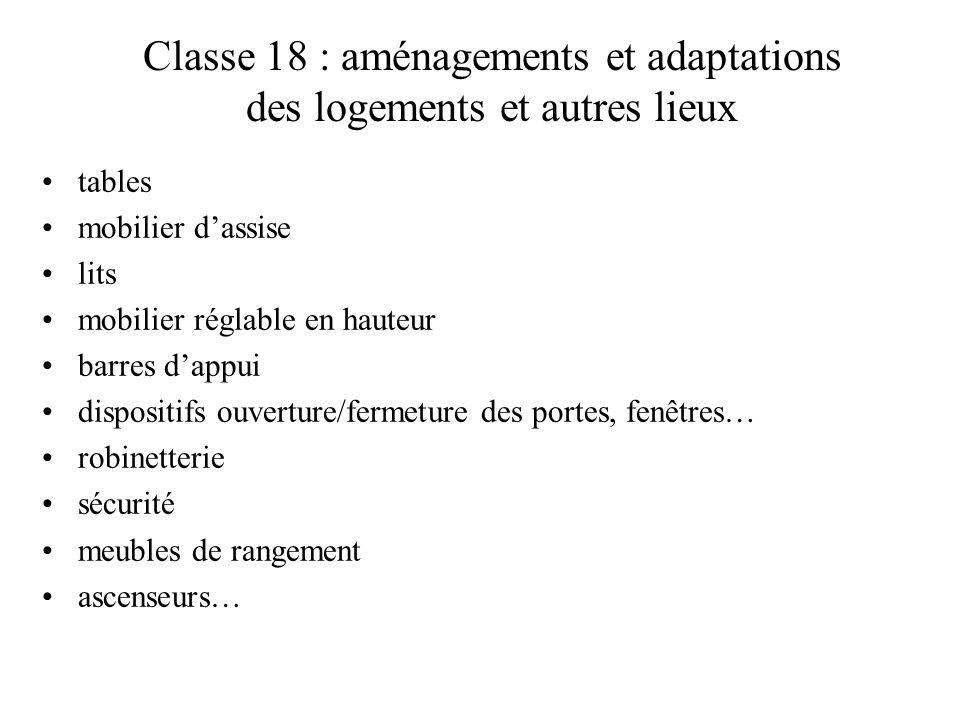 Classe 18 : aménagements et adaptations des logements et autres lieux