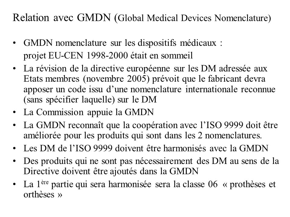 Relation avec GMDN (Global Medical Devices Nomenclature)