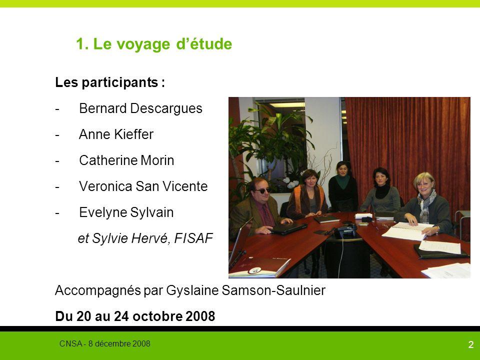 1. Le voyage d'étude Les participants : Bernard Descargues