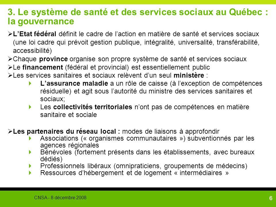 3. Le système de santé et des services sociaux au Québec : la gouvernance