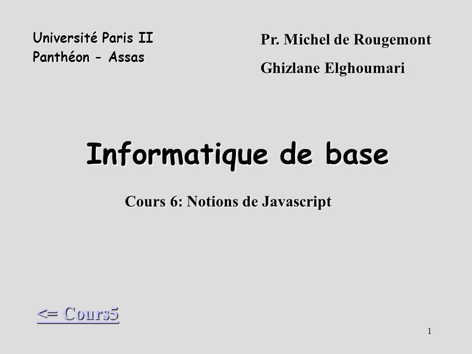 Cours 6: Notions de Javascript