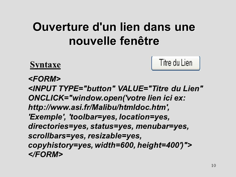 Cours 6 notions de javascript ppt t l charger for Lien dans une nouvelle fenetre