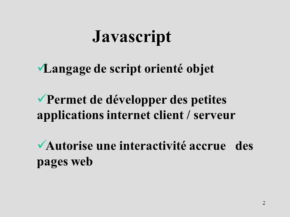 Javascript Langage de script orienté objet