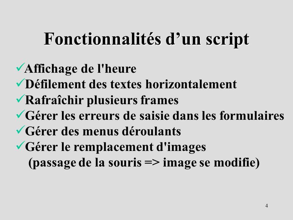 Fonctionnalités d'un script