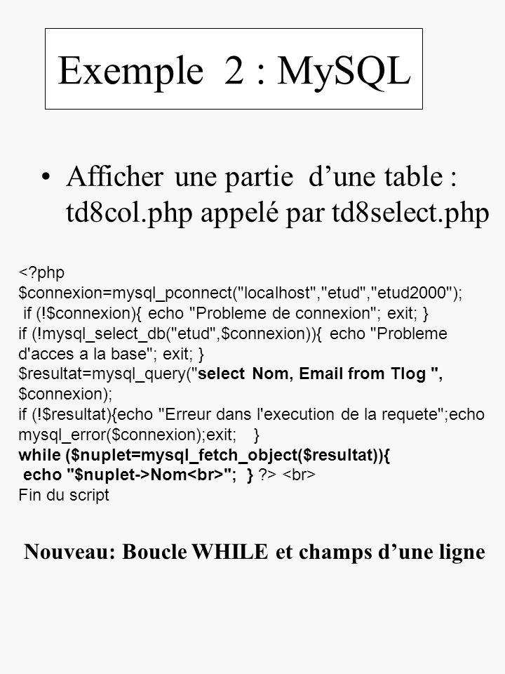 Exemple 2 : MySQL Afficher une partie d'une table : td8col.php appelé par td8select.php.