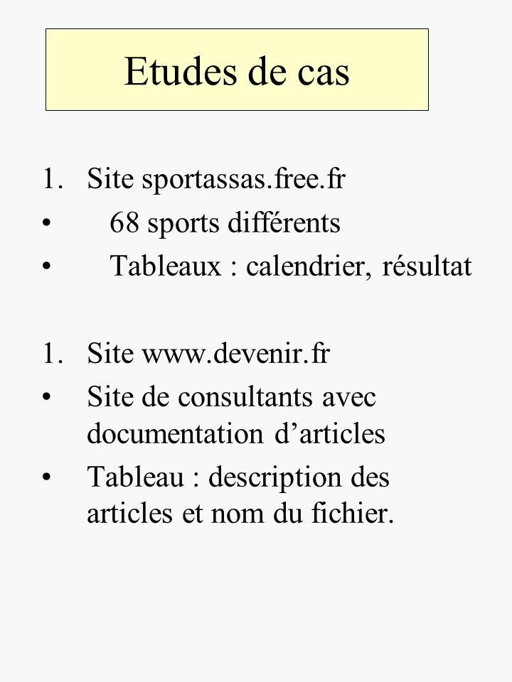 Etudes de cas Site sportassas.free.fr 68 sports différents