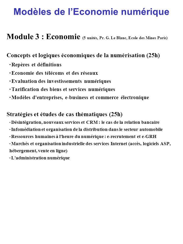 Modèles de l'Economie numérique