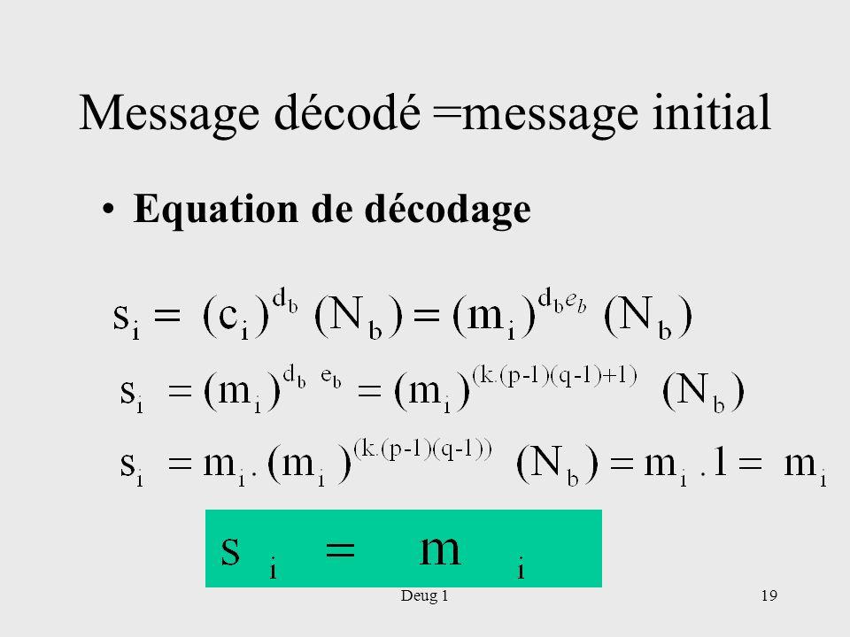 Message décodé =message initial
