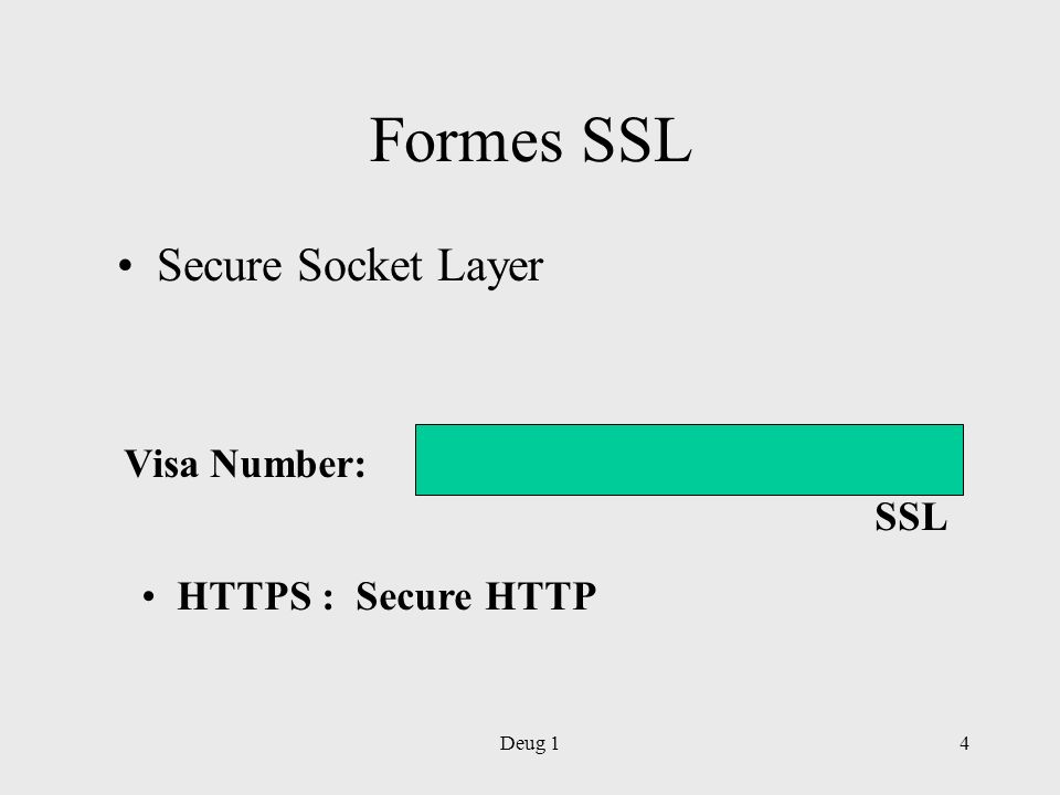 Formes SSL Secure Socket Layer Visa Number: SSL HTTPS : Secure HTTP