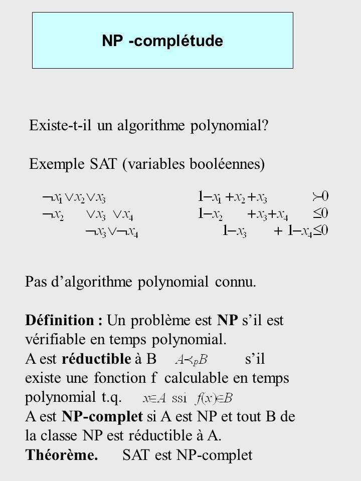NP -complétude Existe-t-il un algorithme polynomial Exemple SAT (variables booléennes) Pas d'algorithme polynomial connu.