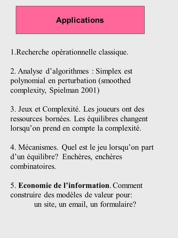 Applications 1.Recherche opérationnelle classique.