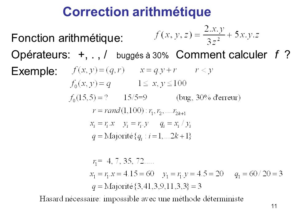Correction arithmétique