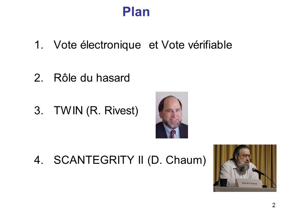 Plan Vote électronique et Vote vérifiable Rôle du hasard