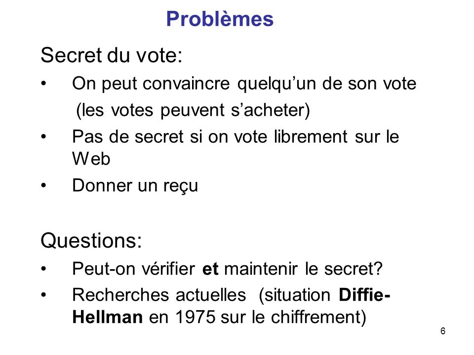 Problèmes Secret du vote: Questions: